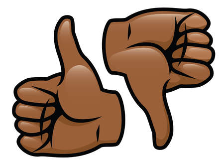 A cartoon vector drawing of a thumbs up and a thumbs down
