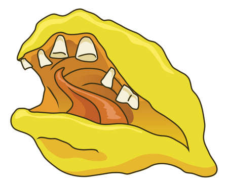 A funny and scary cartoon lemon with a mouth and bad teeth