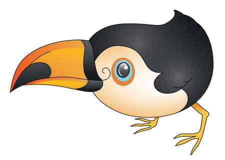 An illustration depicting a cute cartoon toucan crouching  Vector
