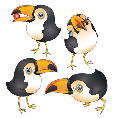 An illustration depicting cute cartoon toucans in various poses