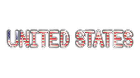 united states flag: A graphical depiction of the words  United States  with an american flag pattern  Illustration