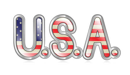 u s: A graphical depiction of the word  U S A   with an american flag pattern