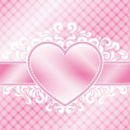 柔らかいピンクのバレンタインの日テーマにしたイラスト