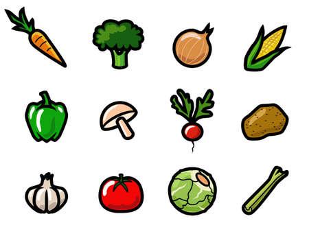 Een set van schattige en kleurrijke cartoon plantaardige pictogrammen