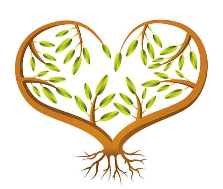 dangle: Un cuore a forma di alberello illustrazione Vettoriali