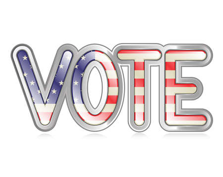 A graphical depiction of the word  vote  with an american flag pattern  Illustration