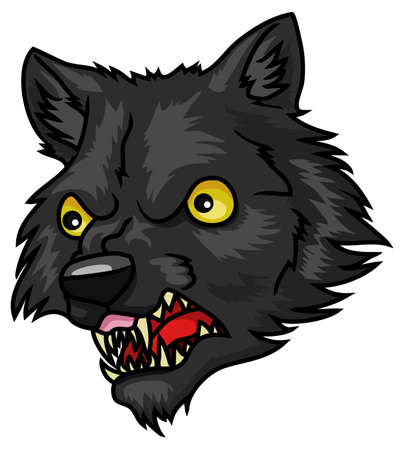 A very cartoon halloween werewolf head or mask  Vector