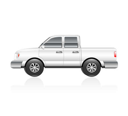 Illustration of a white pickup truck with reflection  Vector