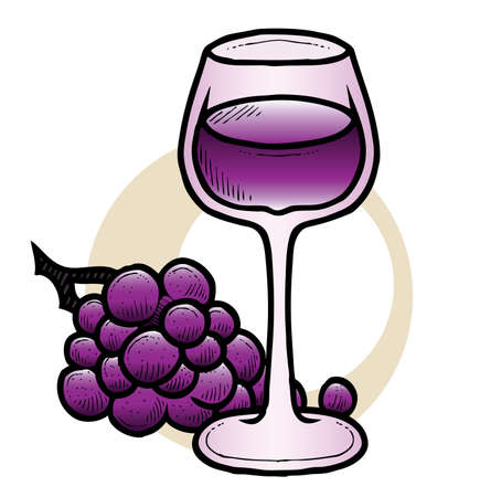 A hand-drawn vector ink drawing of a glass of wine with some grapes  Ilustrace