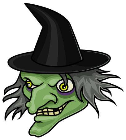 Een cartoon halloween heks hoofd of masker