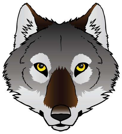 pack animal: Un vettore inchiostro disegnati a mano di fronte un lupo s