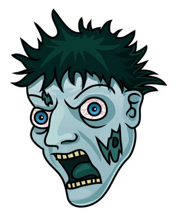 A cartoon halloween zombie head or mask  Vector