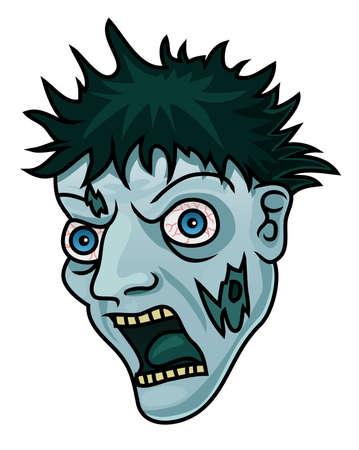 Een cartoon Halloween zombie hoofd of masker Stock Illustratie