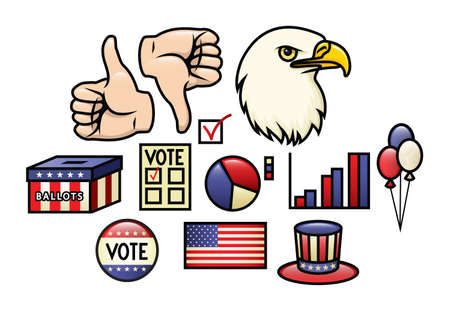 A set of america, fourth of july and election related illustrations