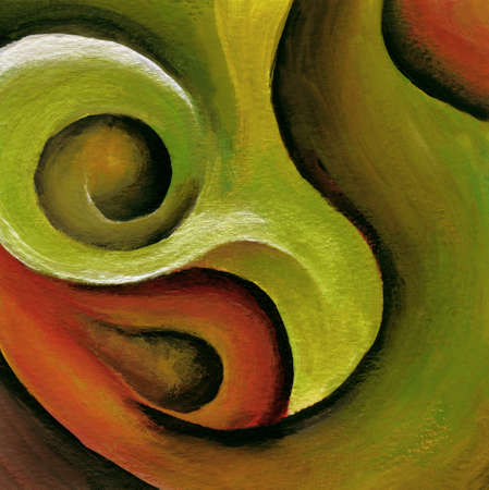 渦巻き模様、赤と緑アクリル抽象的な絵画