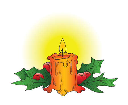 christian candle: A hand-drawn ink vector of a Christmas candle adorned with holly