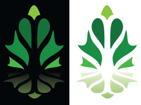 An abstract leaf-shaped graphic shown on a white and black background  Vector