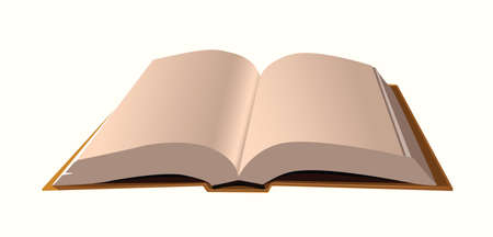 hard cover: A realistic open book illustration.