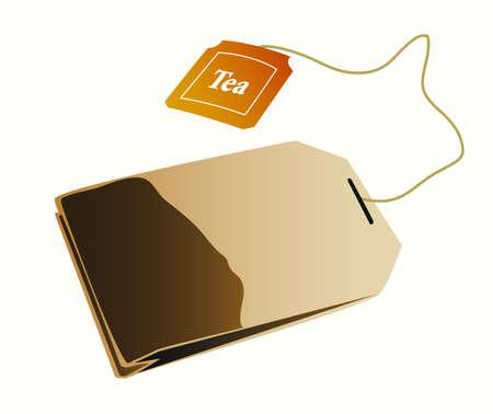A realistic tea bag illustration. Vector