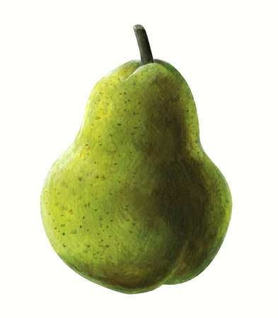 An acrylic painting of a pear isolated on white