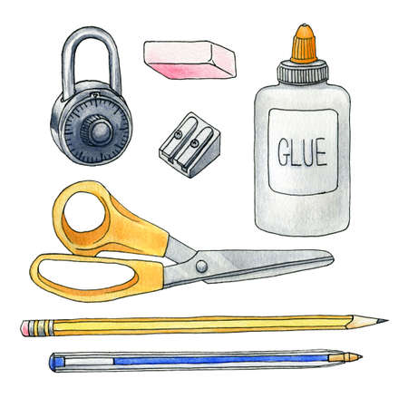 school class: A set of various hand-drawn school supplies  Hand rendered with watercolor   ink on textured paper  Stock Photo