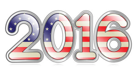 A graphical depiction of the number  2016  with an american flag pattern