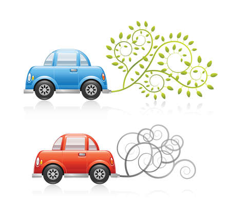 mileage: A set of two conceptual ecology illustrations  A red car producing pollution and a blue car using clean energy