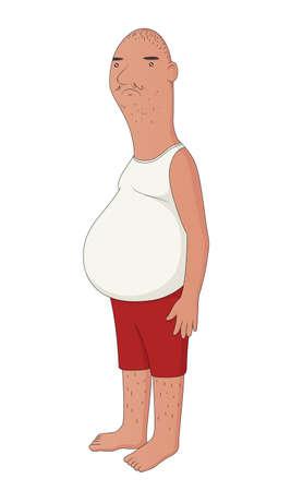Illustratie van een ongezonde man van middelbare leeftijd met een bierbuik
