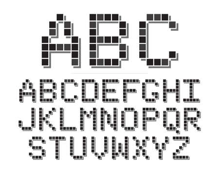 geeky:  An 8 bit or pixel themed font set. Illustration