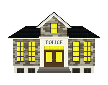 city lights: A simple stylized police station illustration