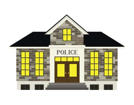 A simple stylized police station illustration