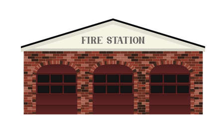 A simple stylized Fire Station building illustration  Illusztráció