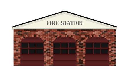 estacion de bomberos: Un simple estaci�n estilizado Fuego edificio ilustraci�n Vectores