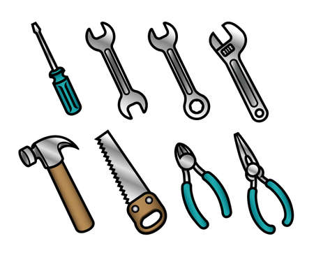 A set of 8 cute and colorful cartoon carpenter tool icons  Vector