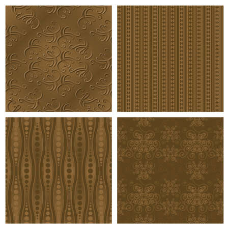 curls: A set of 4 elegant sepia toned seamlessly repeatable patterns