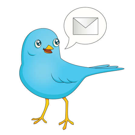 bringing: An illustration depicting a cute cartoon blue bird bringing a message.