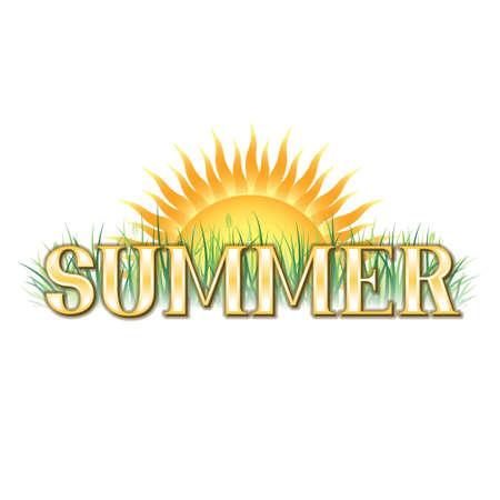 オレンジ色と緑色の夏テーマ バナー  イラスト・ベクター素材