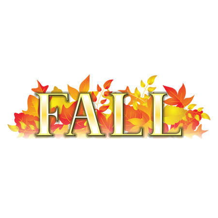 A fall themed banner with various shapes and colors of leaves