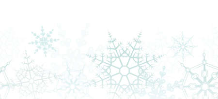 A horizontally repeatable border depicting a winter snowflake pattern