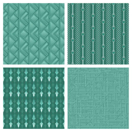 green lines: A set of 4 monochrome teal seamlessly repeatable patterns. Illustration
