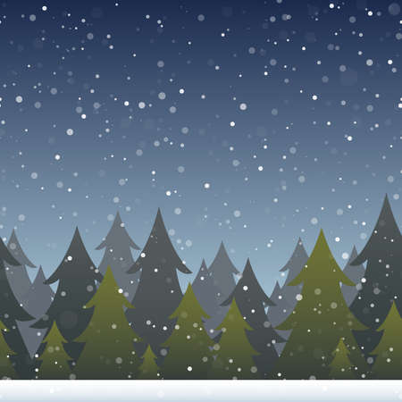 horizontally: A background depicting a snowy evergreen forest. Horizontally repeatable. Illustration