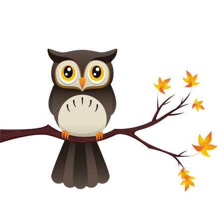 枝に座ってかわいいフクロウを描いたイラスト。