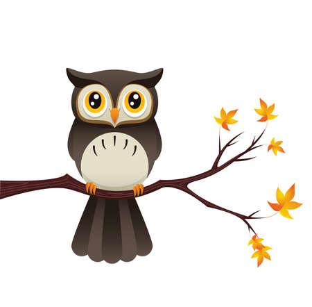 An Illustration depicting a cute owl sitting on a branch. Stok Fotoğraf - 18849600