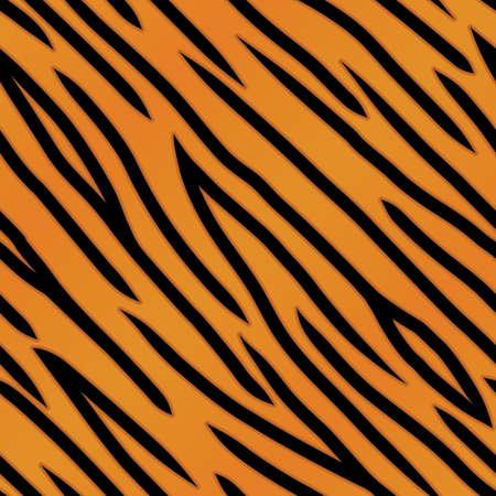 オレンジと黒タイガー ストライプ バック グラウンド。シームレスに繰り返し。  イラスト・ベクター素材