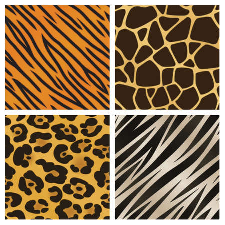 A collection of four different animal print backgrounds  Seamlessly repeatable  Vectores