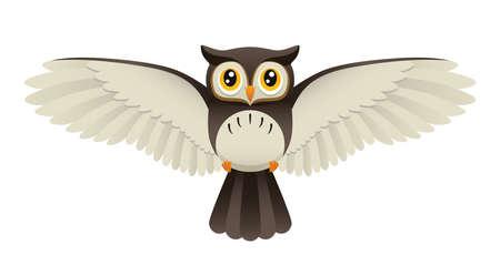 орнитология: Иллюстрация, изображающая милый сова летать.