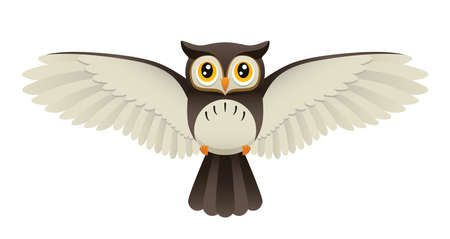An Illustration depicting a cute owl flying. Vector