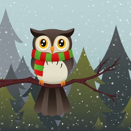 An illustration of a cute owl character wearing a colorful scarf during a snow storm. Vector