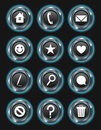 A set of 12 glowing blue action buttons on a dark background. Vector