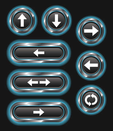 north arrow: A set of 8 glowing blue arrow buttons on a dark background.